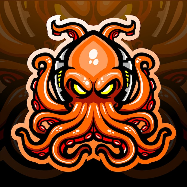 Mascotte del kraken di polpo.