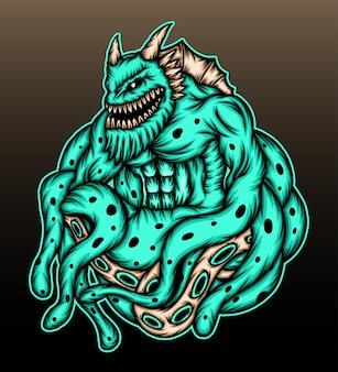 Disegno dell'illustrazione del mostro di polpo
