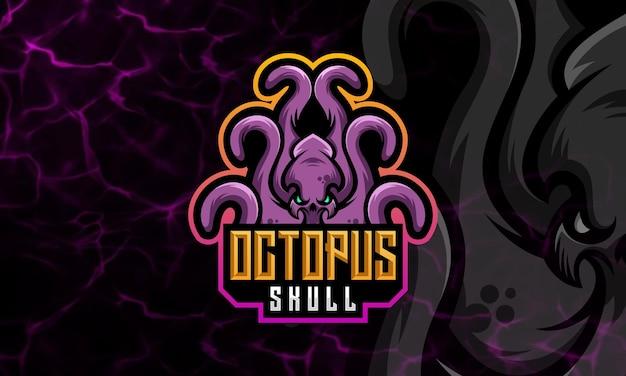 Polpo, calamaro moderno mascotte e modello di progettazione logo sportivo