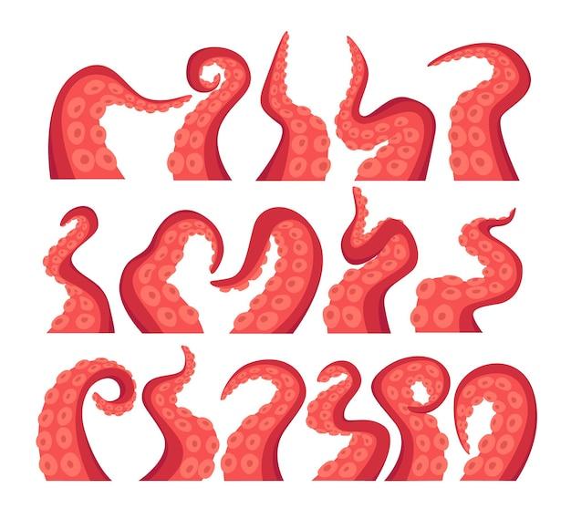 Set di icone isolate tentacoli di polpo