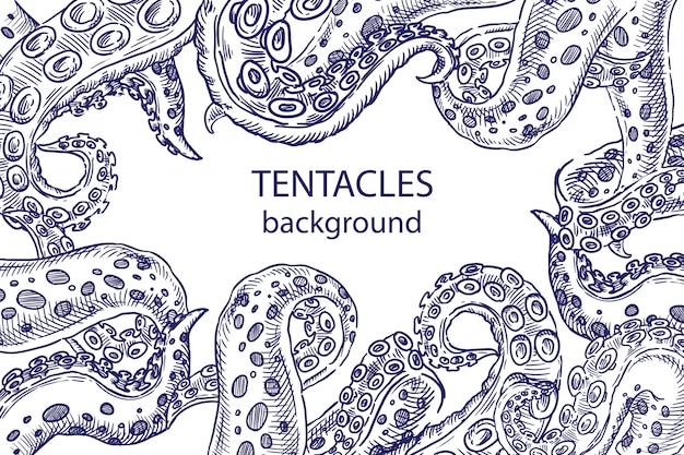 Schizzo di tentacoli di polpo