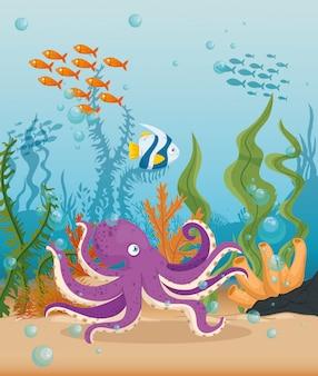 Polpo con pesci animali marini nell'oceano, abitanti del mondo del mare, simpatiche creature sottomarine, concetto di habitat marino