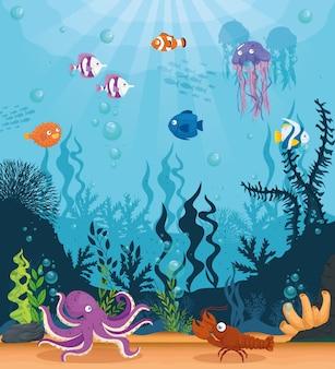 Polpo con pesci animali marini selvatici nell'oceano, abitanti del mondo del mare, simpatiche creature sottomarine, concetto di habitat marino
