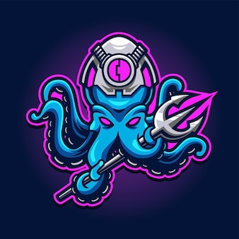 Polpo con trident esport gaming logo