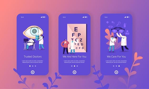 Modelli di schermate per app per dispositivi mobili per esami ottici professionali di medici oculisti.