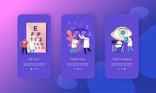 Modelli di schermate della pagina dell'app per dispositivi mobili per il controllo della vista dell'occhio oculista.