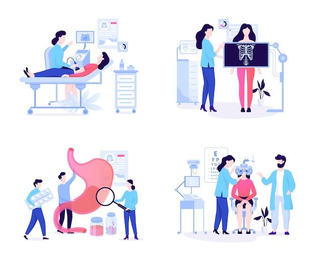 Concetto di banner web oculista e ultra suono, raggi x e gastroenterologia. idea di cure mediche in ospedale. illustrazione