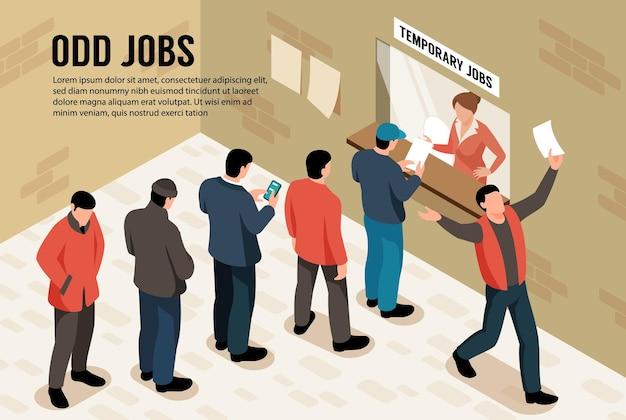 Caratteri isometrici di lavori dispari che stanno in coda per l'illustrazione del lavoro temporaneo