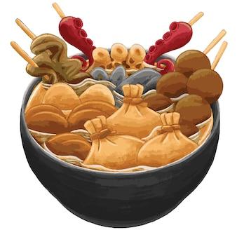 Oden cibo giapponese in stile design piatto