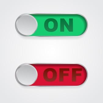 Icone del pulsante on off interfaccia interruttore a levetta design semplice