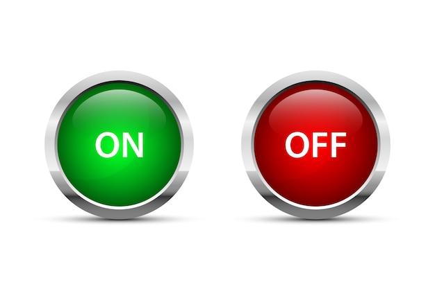 Illustrazione del pulsante di accensione e spegnimento isolato su sfondo bianco