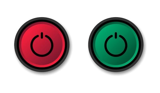 Pulsante di accensione e spegnimento. inizia e ferma. bottoni rotondi rossi e verdi.