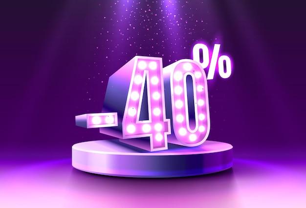 Sconto sconto composizione creativa d vendita simbolo neon podio confezione regalo vendita banner e poster vector