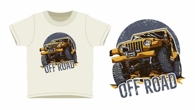 Design della maglietta fuoristrada jeep