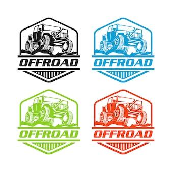 Logo fuoristrada. emblema della concorrenza estrema. avventura suv e elementi fuoristrada del club automobilistico. bello con lettere testurizzate uniche isolate su priorità bassa bianca.