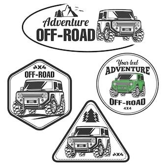 Emblemi, distintivi e icone di auto suv fuoristrada. auto cingolata da roccia
