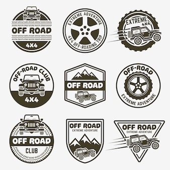 Set di auto fuoristrada suv di etichette monocromatiche, emblemi o distintivi