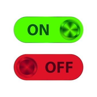 Pulsante di accensione e spegnimento con forme metalliche verdi e rosse
