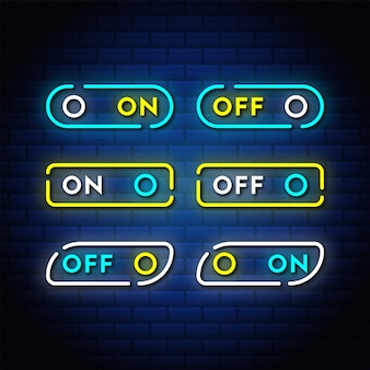 On off interruttore neon pulsante imposta raccolta di testo in stile.