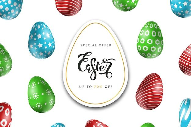 Offerta per vendita di pasqua con modello di uova