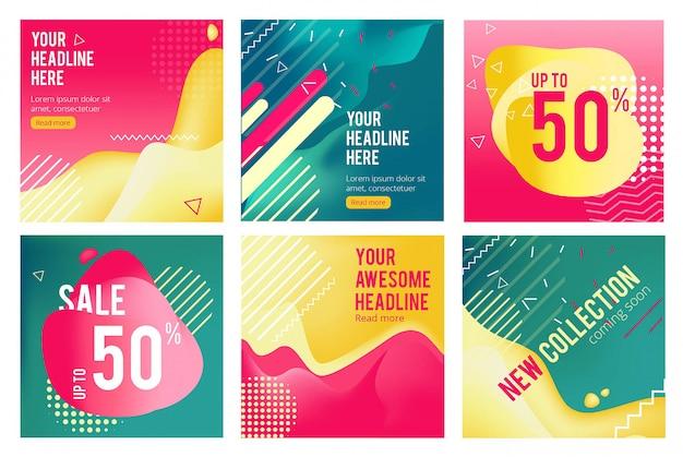 Offre banner. le immagini quadrate di promozione per i social media di grandi vendite offrono modelli vettoriali di layout