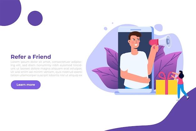 Offre regali di riferimento, ricompensa online, concetto di programma di referral digitale. illustrazione vettoriale di scatola regalo. può essere utilizzato per modello, pagina di destinazione web, banner.