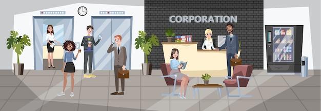 Interno dell'edificio per uffici. sala ricevimenti con amministratore