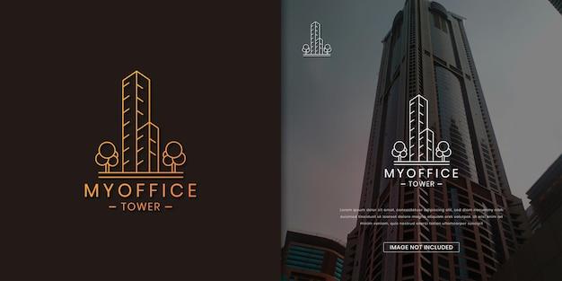 Progettazione del logo del condominio della torre dell'edificio per uffici