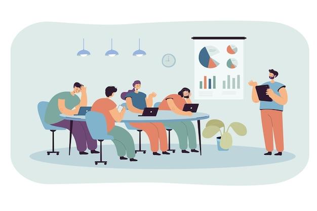 Persone dei cartoni animati in ufficio che ascoltano una presentazione noiosa