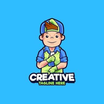 Illustrazione del design del logo della mascotte dell'assistente alle pulizie dell'ufficio