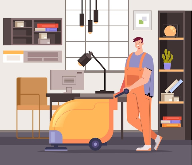 Concetto di lavoratori del servizio di pulizia per uffici