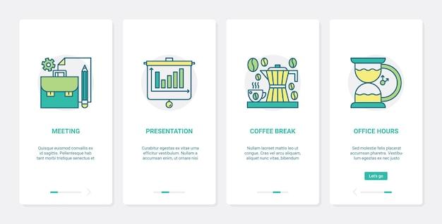 Pausa caffè in ufficio, illustrazione di riunione d'affari.