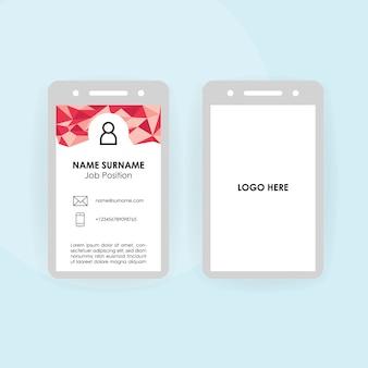 Modello di carta d'identità aziendale o aziendale