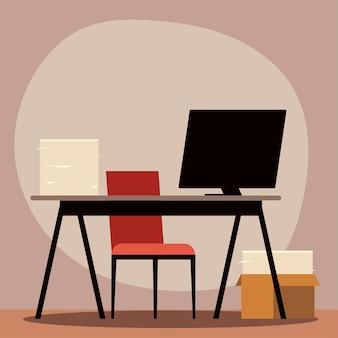 Sedia da ufficio scrivania computer e pila di carta illustrazione
