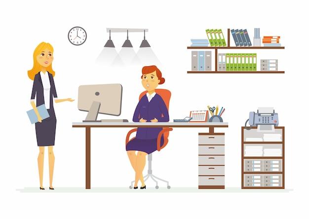 Ufficio discussione - illustrazione vettoriale di una situazione aziendale. personaggi dei cartoni animati di giovani colleghe di mezza età al lavoro. manager, supervisore, segretario discutendo piano, reporting