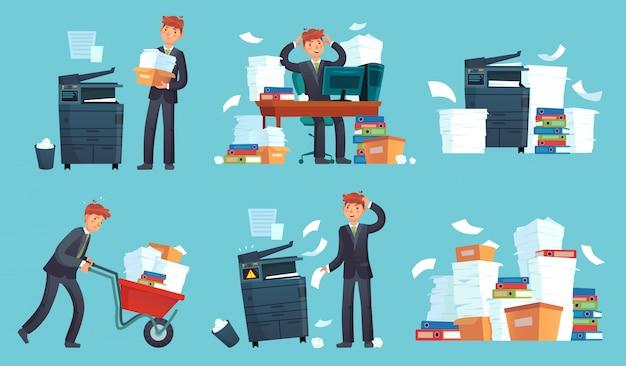 Copiatrice di documenti per ufficio, documenti commerciali stampati, uomo d'affari ha rotto la stampante e copiatrice dei cartoni animati