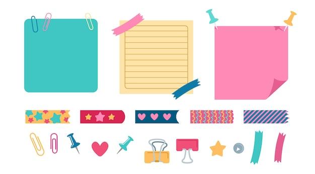 Elementi di ufficio pianificazione set cancelleria. elementi di design della scuola per notebook, diario