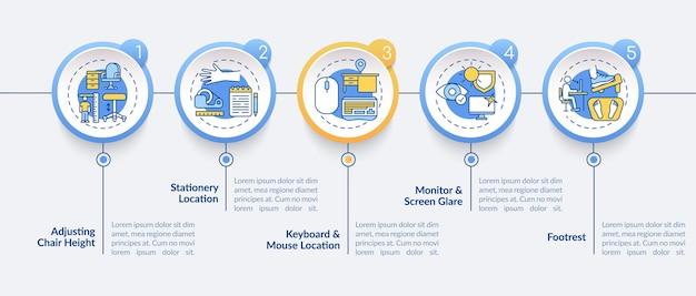 Illustrazione del modello infografico dei consigli di ergonomia dell'ufficio