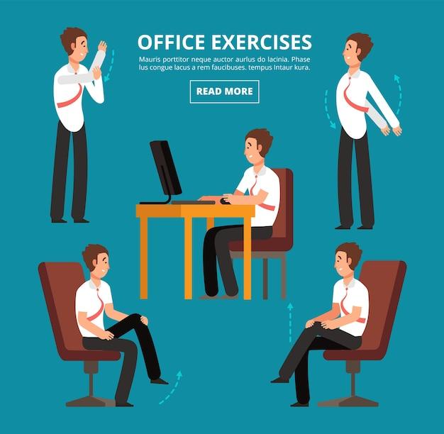 Esercizi in ufficio alla scrivania. diagramma per illustrazione vettoriale di dipendenti sanitari. ufficio salute esercizio allenamento, relax corpo postura