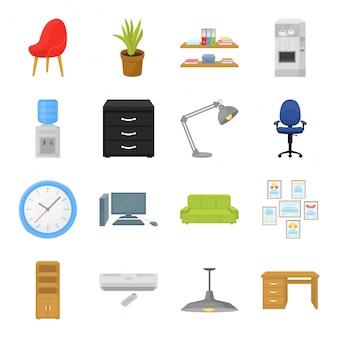 Icona stabilita del fumetto dei mobili d'ufficio. illustrazione interni moderni. isolato cartoon mobili per ufficio icona set.
