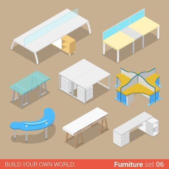 Mobili per ufficio set tavolo da lavoro due elementi a quattro posti piatti collezione creativa di oggetti interni.