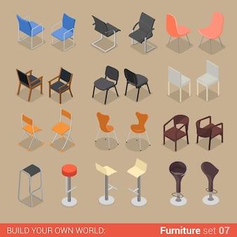 Ufficio casa bar ristorante set di mobili sedia sedile poltrona sgabello lounge elemento piatto collezione di oggetti interni creativi.