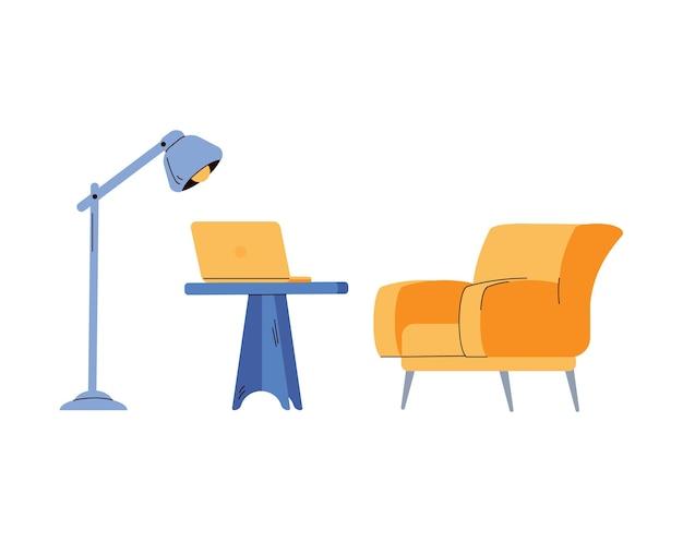 Mobili da ufficio o da casa sul posto di lavoro con illustrazione vettoriale piatta della lampada isolata