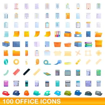 Set di icone di ufficio. illustrazione del fumetto delle icone dell'ufficio messe su fondo bianco