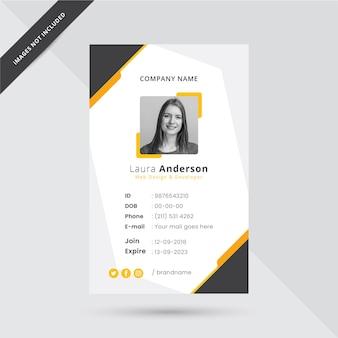 Illustrazione del modello di carta d'identità dell'ufficio