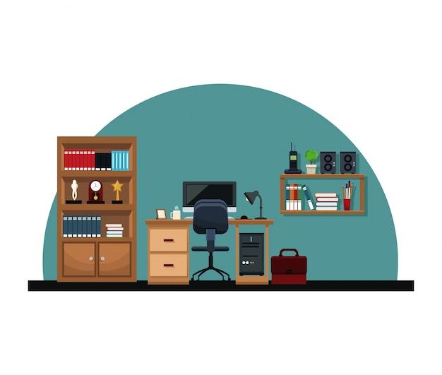Ufficio interno scrivania sedia computer cartella scaffale trofeo telefono orologio