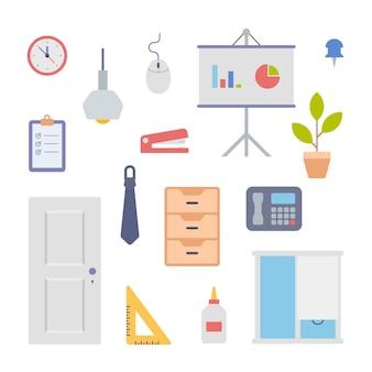 Set di icone di oggetti interni per ufficio. stand con diagrammi aziendali e scatole per la documentazione