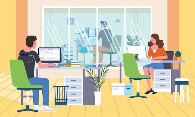 Interno dell'ufficio con la stanza del manager separata da altri dipendenti, tutti i dipendenti che lavorano nella loro scrivania