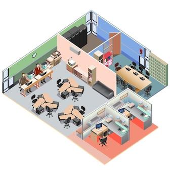 Icona isometrica dell'ufficio isometrica preassemblata