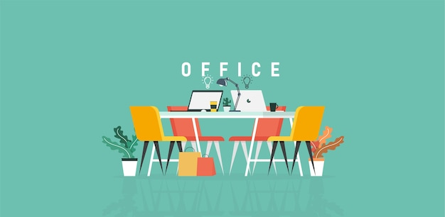 Office of learning and teaching work in the company of business people working using program design vector illustration